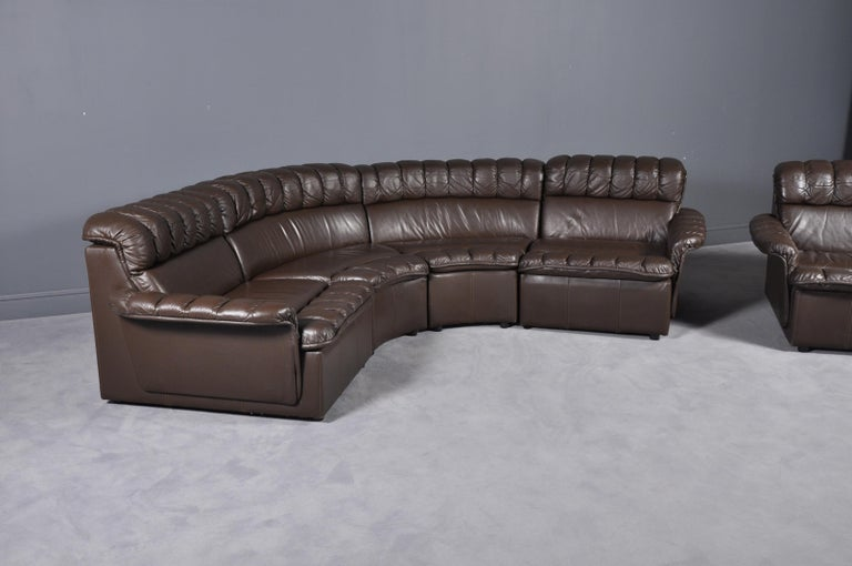 Vintage Modular Brown Leather Sofa and Armchair Set, 1980s