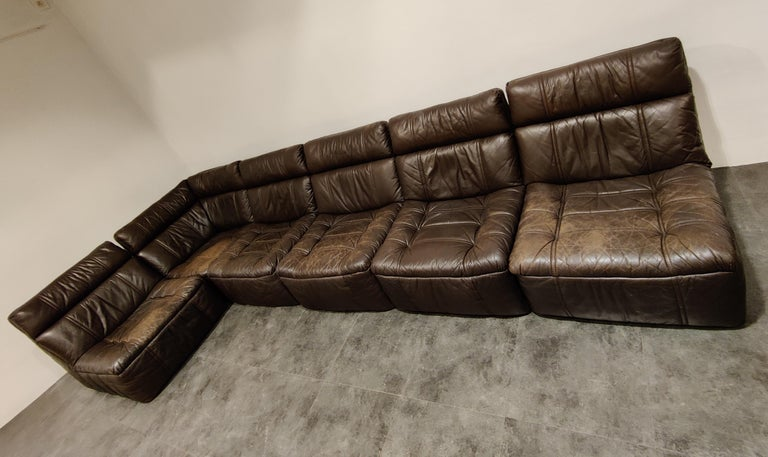 Modular brown leather sofa by Rolf Benz.  The set consists of 6 pieces.  The sofa is in good used condition, no tears, no holes and a lovely patina.  1970s, Germany  Dimensions:  Dimensions of a regular element: Height 75cm/29.52