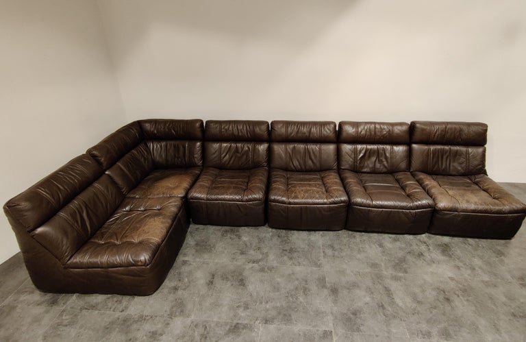 German Vintage Modular Leather Sofa by Rolf Benz, 1970s