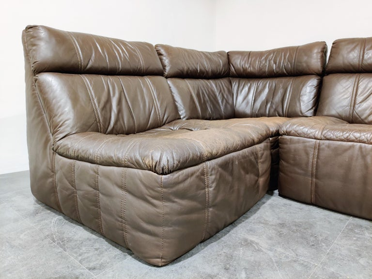 Vintage Modular Leather Sofa by Rolf Benz, 1970s In Good Condition In Neervelp, BE