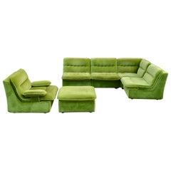 Vintage Modular Limegreen 1970s Sofa Living Room Suite