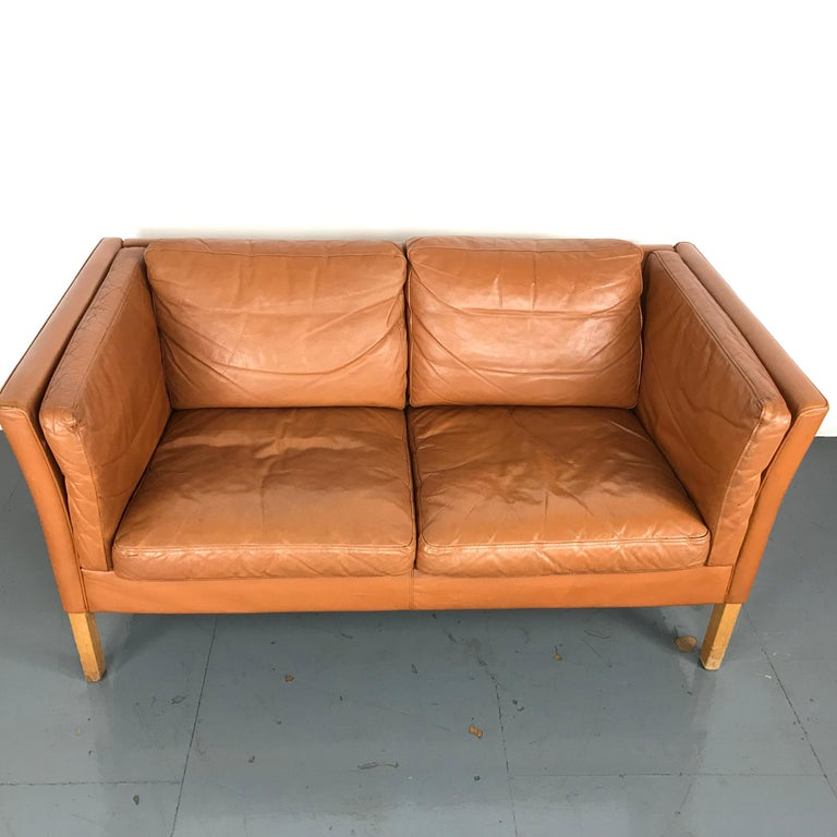 Vintage Mogensen Style 2-Seat Light Tan Brown Leather Sofa For Sale ...