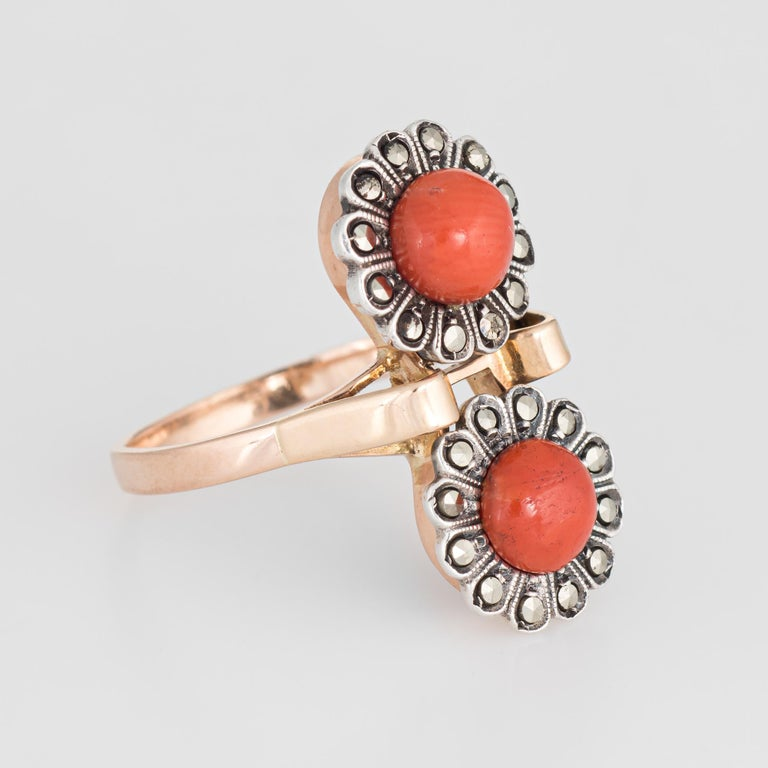 Modern Vintage Moi Et Toi Coral Ring 18 Karat Gold Marcasite Double Flower Jewelry For Sale