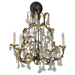 Vintage Molded Glass and Gilded Iron Leaves Chandelier, 1940s