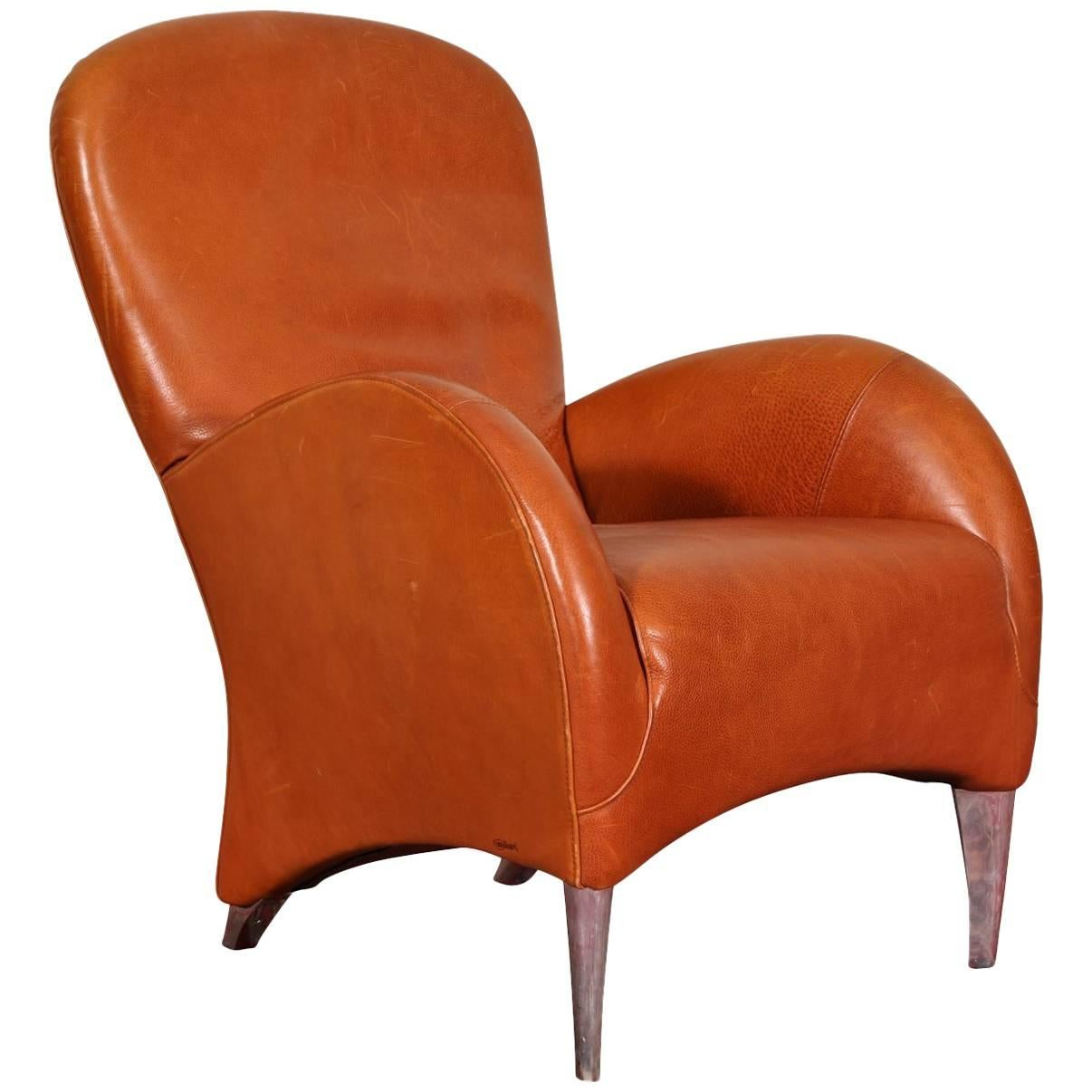 Genial Vintage Molinari Tobacco Leather Armchair For Sale