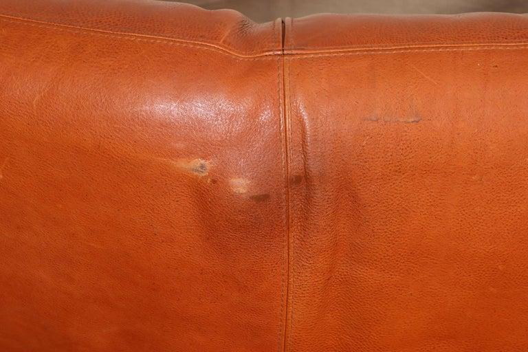 Vintage Molinari Tobacco Leather Sofa For Sale 5