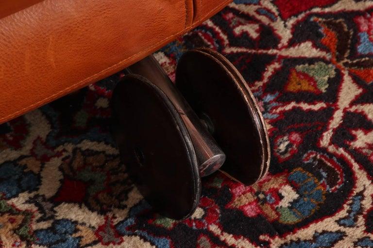 Vintage Molinari Tobacco Leather Sofa For Sale 6