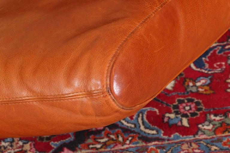 Vintage Molinari Tobacco Leather Sofa For Sale 8