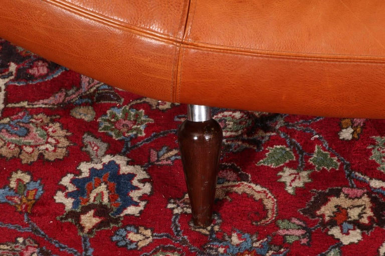 Vintage Molinari Tobacco Leather Sofa For Sale 9