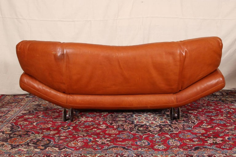 Mid-Century Modern Vintage Molinari Tobacco Leather Sofa For Sale