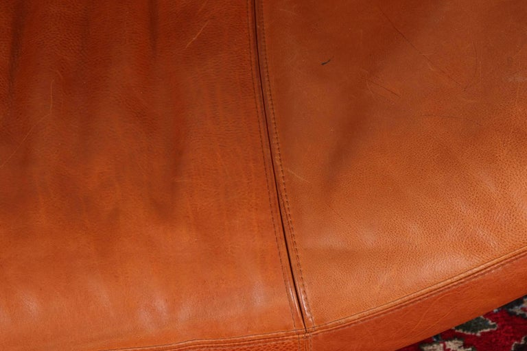 20th Century Vintage Molinari Tobacco Leather Sofa For Sale