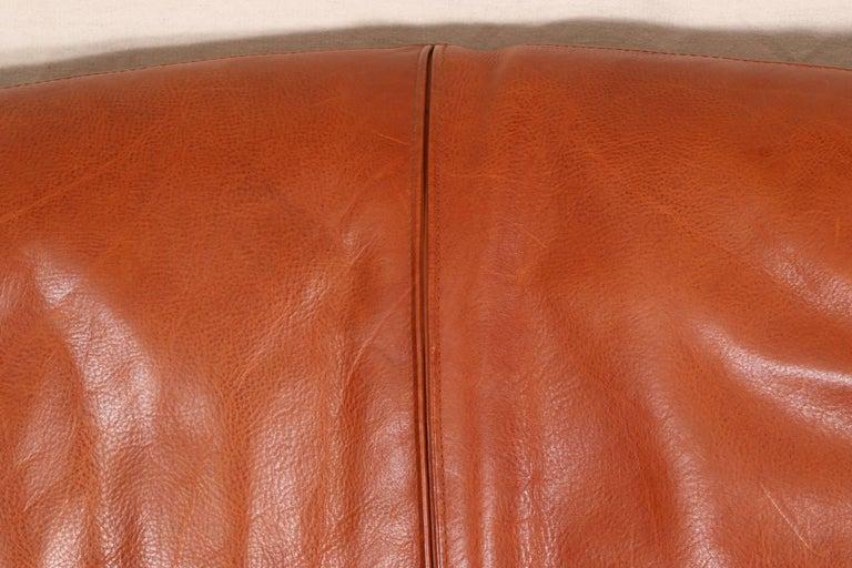 Vintage Molinari Tobacco Leather Sofa For Sale 1