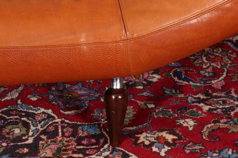 Vintage Molinari Tobacco Leather Sofa For Sale 2