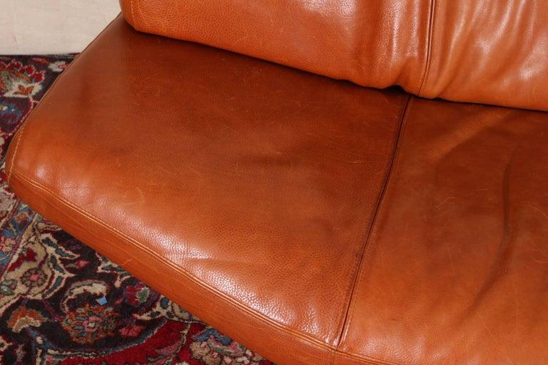 Vintage Molinari Tobacco Leather Sofa For Sale 3