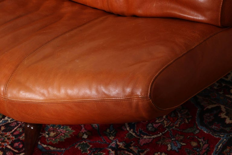Vintage Molinari Tobacco Leather Sofa For Sale 4
