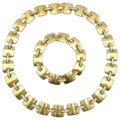Vintage Monet Brushed Gold & Crystal H Necklace & Bracelet 1980s