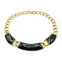 Vintage Monet Chunky Chain Gold & Black Enamel Collar 1980s