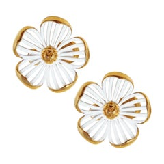 Vintage Monet Gilt and White Enamel Floral Statement Earrings, Signed