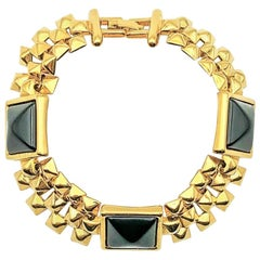 Vintage Monet Gold & Black Chunky Pyramid Bracelet 1980s