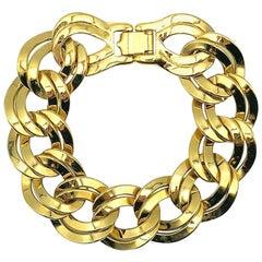 Vintage Monet Gold Chunky Curb Bracelet 1980s