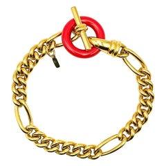 Vintage Monet Gold & Red T Bar Facny Bracelet 1990s