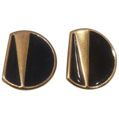 Vintage Monet gold tone black earrings