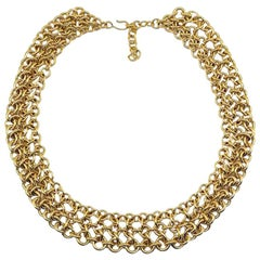 Vintage Monet Gold Triple Chain Link Statement Collar 1970s