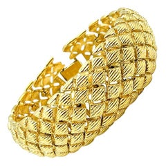 Vintage Monet Gold Weave  Bracelet 1980s