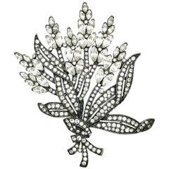 Vintage Monet Large Crystal Floral Brooch 1980s