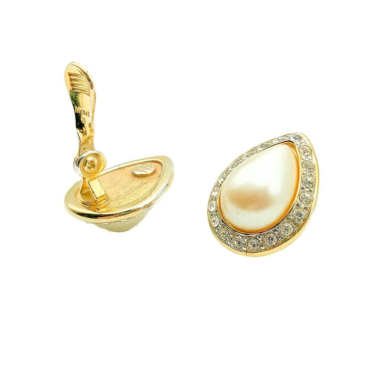 Vintage Monet Pearl & Crystal Teardrop Earring 1980s In Good Condition For Sale In Wilmslow, GB