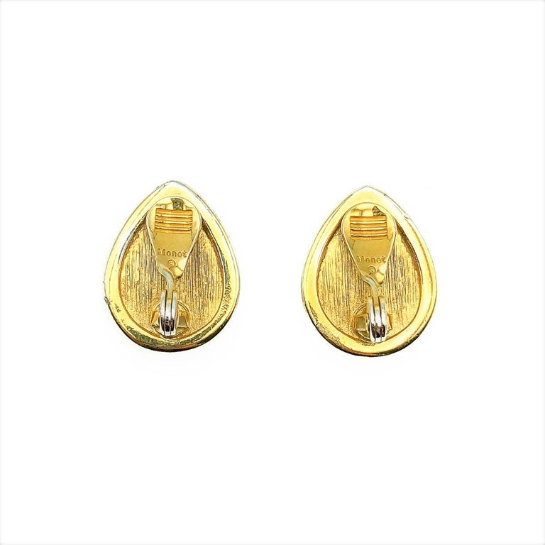 Women's or Men's Vintage Monet Pearl & Crystal Teardrop Earring 1980s For Sale