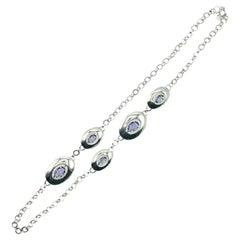 Vintage Monet Silver & Amethyst Modernist Necklace 1970s