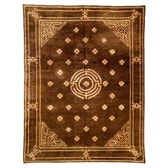 Vintage Mongolian Chocolate Brown Handmade Wool Carpet