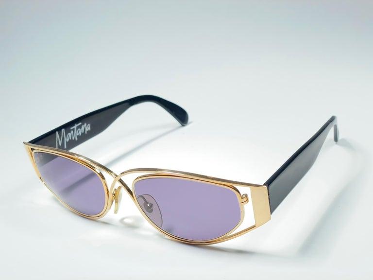 Women's or Men's Vintage Montana 5583 Sleek Gold & Black Handmade in France Sunglasses 1990 For Sale