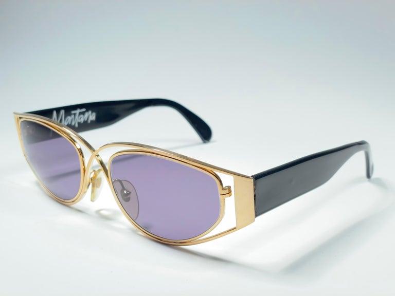 Vintage Montana 5583 Sleek Gold & Black Handmade in France Sunglasses 1990 For Sale 1