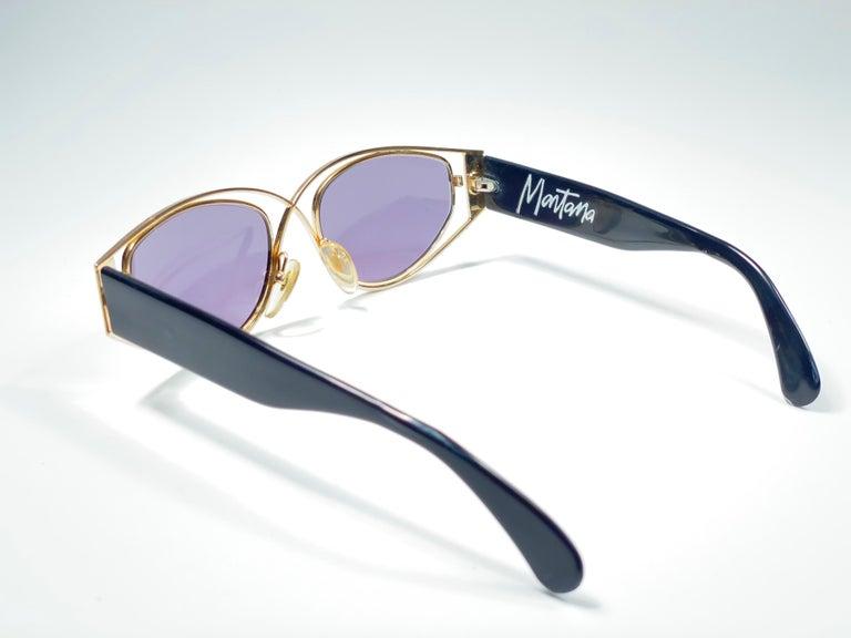 Vintage Montana 5583 Sleek Gold & Black Handmade in France Sunglasses 1990 For Sale 2