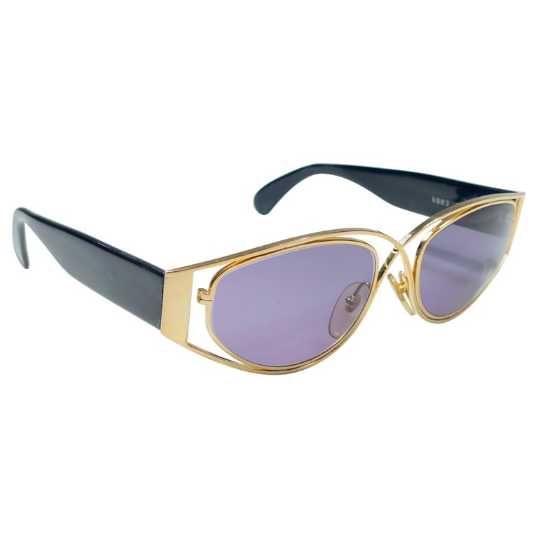 Vintage Montana 5583 Sleek Gold & Black Handmade in France Sunglasses 1990 For Sale