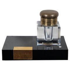Vintage Montblanc Cut Crystal & Brass Desktop Inkwell Stand Black Gold, Germany