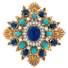 Vintage Montclair Diamond, Lapis and Turquoise 18k Yellow Gold Brooch / Pendant