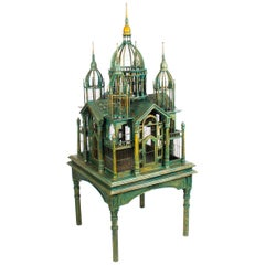 Monumental Mahogany Sacre Coeur Cathedral Bird Cage on Stand, 20th Century