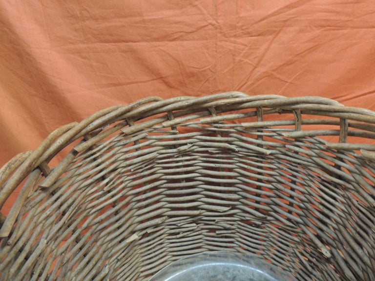 Country Vintage Monumental Round Willow Planter/Basket For Sale
