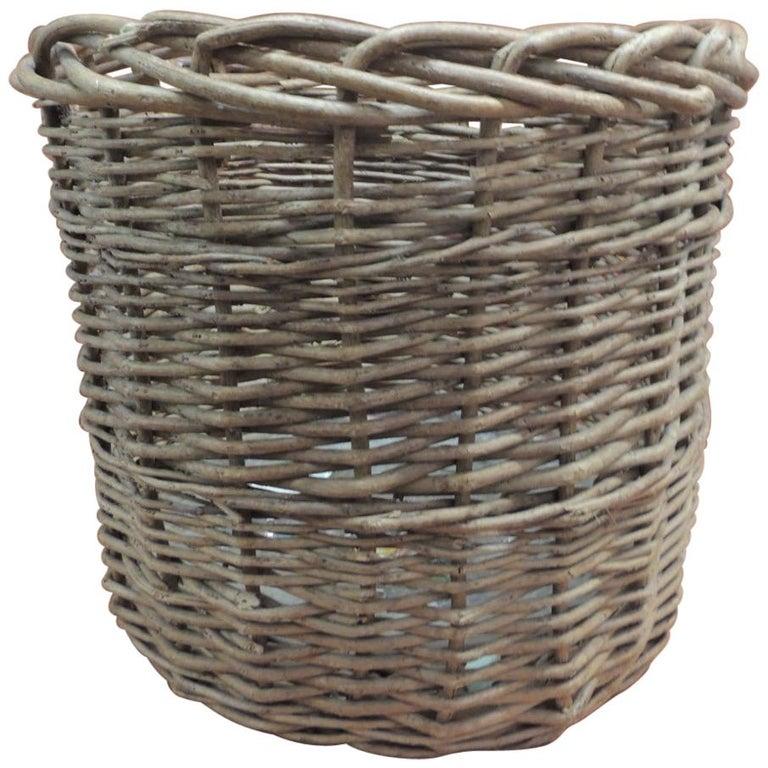 Vintage Monumental Round Willow Planter/Basket For Sale