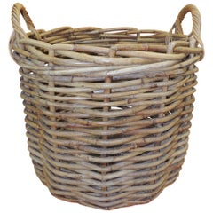 Vintage Monumental Round Willow Planter/Basket with Handles