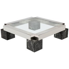 Vintage Monumental Steel Marble Black Square Coffee Table, France