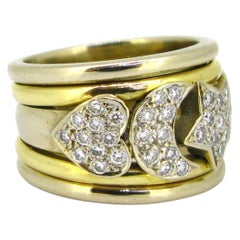 Vintage Moon, Heart and Star Diamonds Band Ring 18 Karat Yellow and White Gold