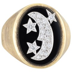 Vintage Moon and Star Diamond Ring Men's 14 Karat Gold Celestial Jewelry