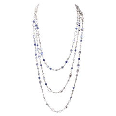 Vintage Moon Stone Diamond Sapphire Long Necklace Chain