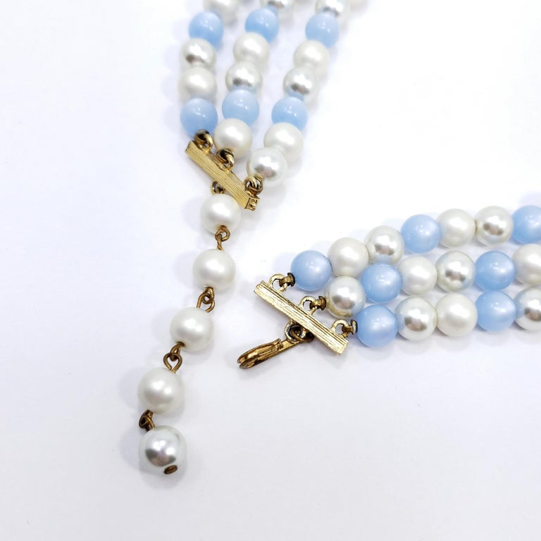Women's or Men's Vintage Moonglow and Faux Pearl Bead Multi Strand Necklace and Clip On Earrings For Sale