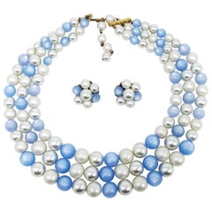 Vintage Moonglow and Faux Pearl Bead Multi Strand Necklace and Clip On Earrings