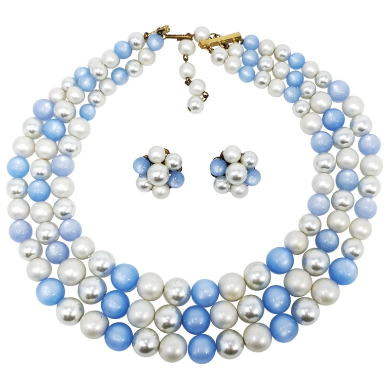 Vintage Moonglow and Faux Pearl Bead Multi Strand Necklace and Clip On Earrings For Sale